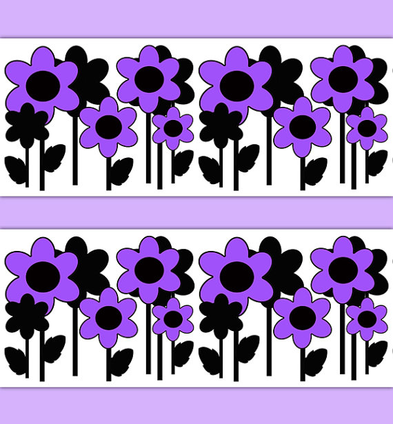 FLORAL-BORDER-DECAL-Purple-Wall-Art-Flower-Stickers-Room-Decor-Teen-Girls-Bedroom-Kids-Chi-wallpaper-wp3005722