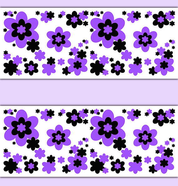FLORAL-BORDER-Purple-Decals-Wall-Art-Teen-Girls-Flower-Garden-Abstract-Stickers-Decor-Baby-wallpaper-wp3005728
