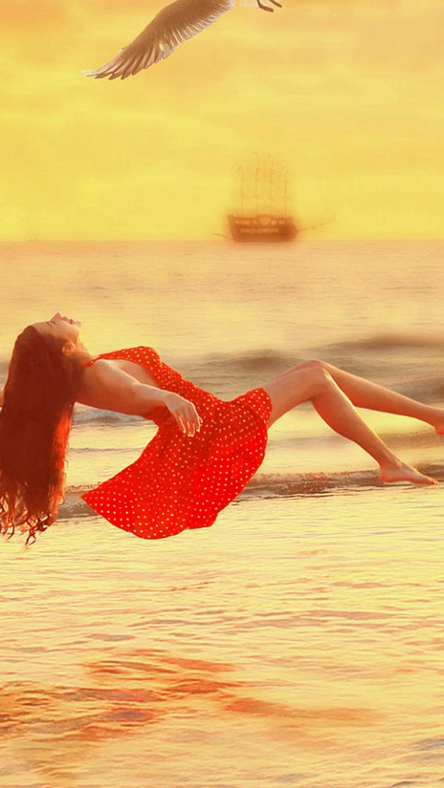 Fly-Over-The-Sea-Dress-Girl-iPhone-s-wallpaper-wp425488