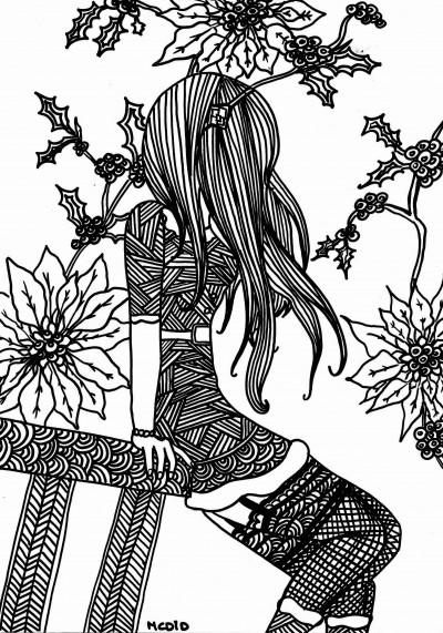 Free-coloring-page-printable-Christmas-girl-Gratis-kleurplaat-voor-volwassenen-Kerstmeisje-wallpaper-wp4606014-2
