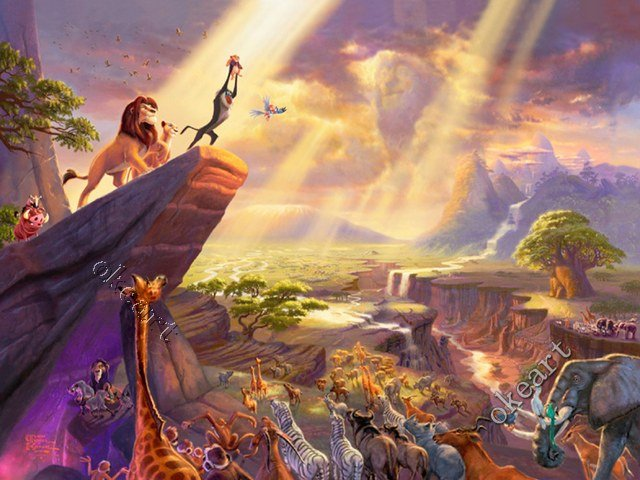 Free-shipping-Lion-King-Print-Waterproof-No-Fade-poster-Landscape-Thomas-kinkade-famous-painting-rep-wallpaper-wp425596-1