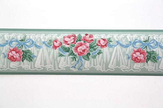 Full-Vintage-Border-TRIMZ-Pink-Roses-Floral-Border-Pink-and-Green-wi-wallpaper-wp5805889