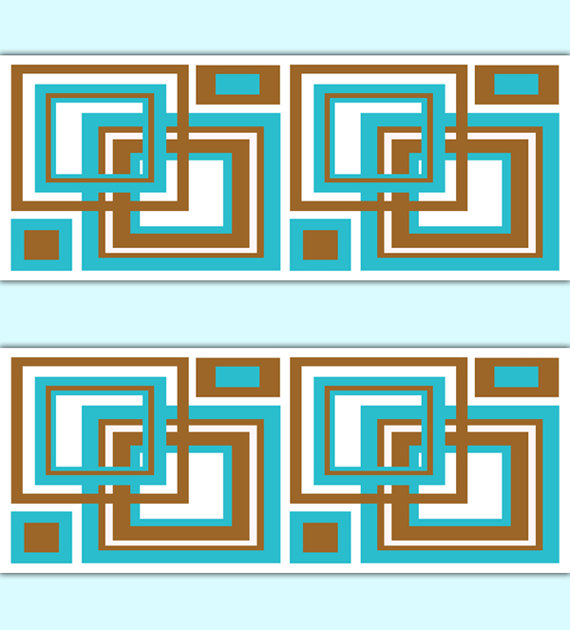 GEOMETRIC-BORDER-Turquoise-Brown-Square-Wall-Art-Decals-Blue-Room-Abstract-Minimalist-Patt-wallpaper-wp3006055