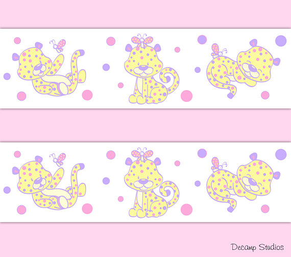 GIRL-NURSERY-Border-Decals-Pink-Safari-Animals-Wall-wallpaper-wp5207001