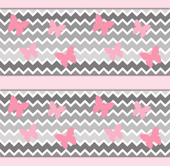 GREY-GRAY-OMBRE-Chevron-Pink-Butterfly-Border-Wall-Decals-Baby-Girl-Nursery-Kids-Bedroom-C-wallpaper-wp3006341