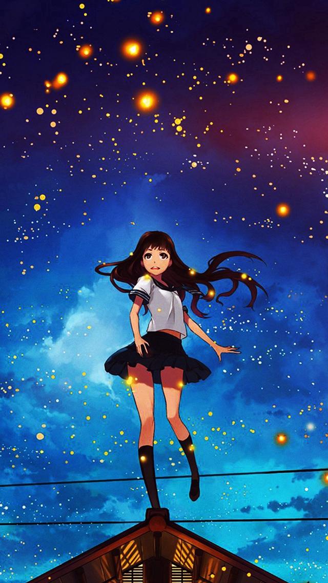 Girl-Anime-Star-Space-Night-Illustration-Art-Flare-iPhone-s-wallpaper-wp425724