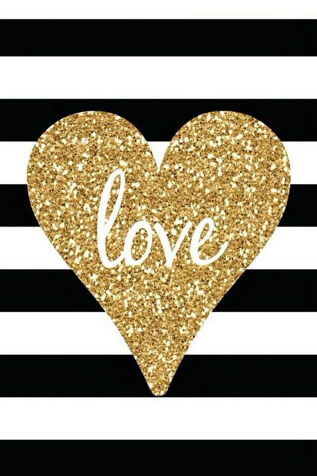Gold-heart-love-with-black-and-white-stripes-wallpaper-wp4806823