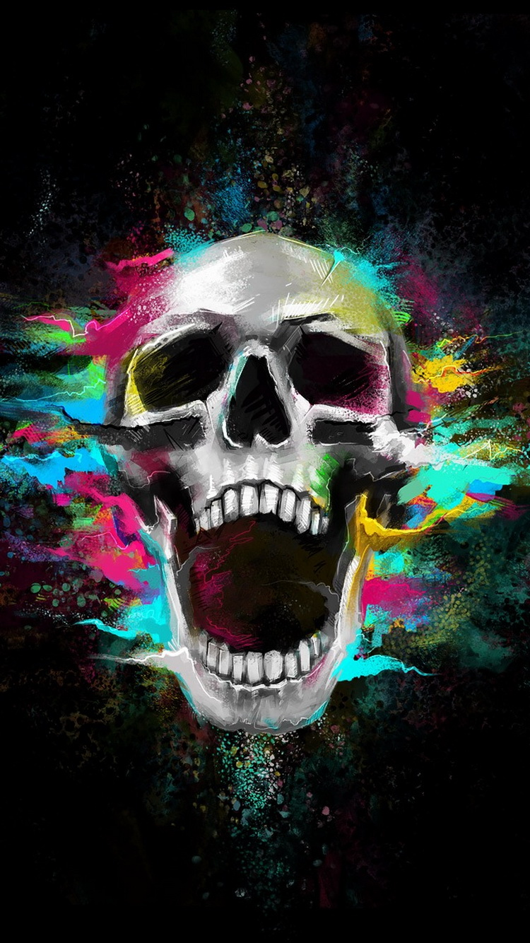 Growl-Shouting-Skull-Colorful-iPhone-wallpaper-wp425895