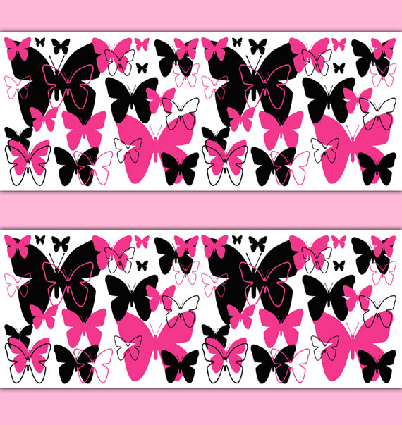 HOT-PINK-BUTTERFLY-Border-Decal-Wall-Art-Teen-Girls-Stickers-Room-Decor-Baby-Nursery-Childrens-Abstr-wallpaper-wp3006700