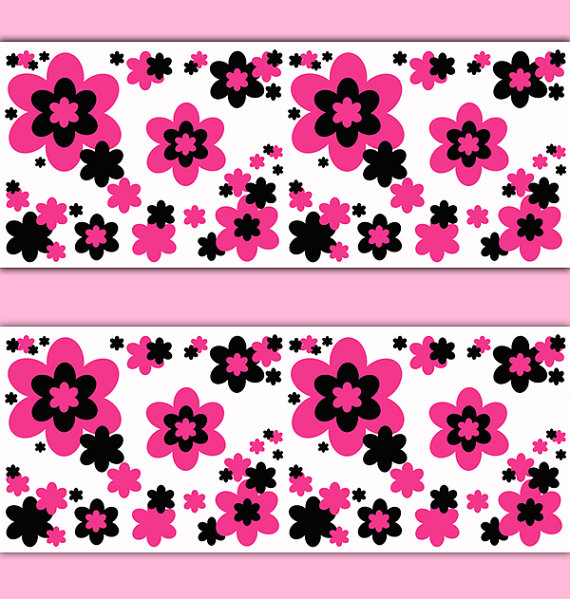 HOT-PINK-FLOWERS-Border-Wall-Art-Decal-Teen-Girl-Stickers-Baby-Nursery-Room-Floral-Abstrac-wallpaper-wp3006704