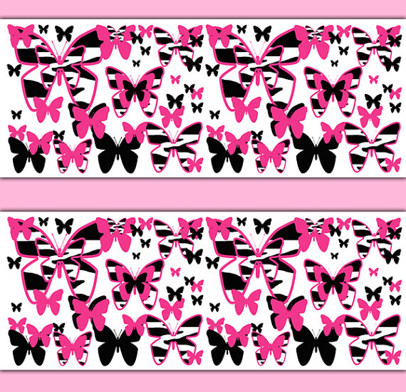 HOT-PINK-ZEBRA-Print-Butterfly-Border-Decal-Wall-Art-Animal-Teen-Girls-Room-Stickers-Decor-Baby-Nurs-wallpaper-wp3006712