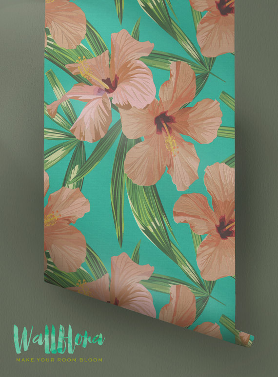 Hibiscus-Pattern-Removable-Tropical-Hibiscus-Wall-Sticker-Exot-wallpaper-wp426128-1