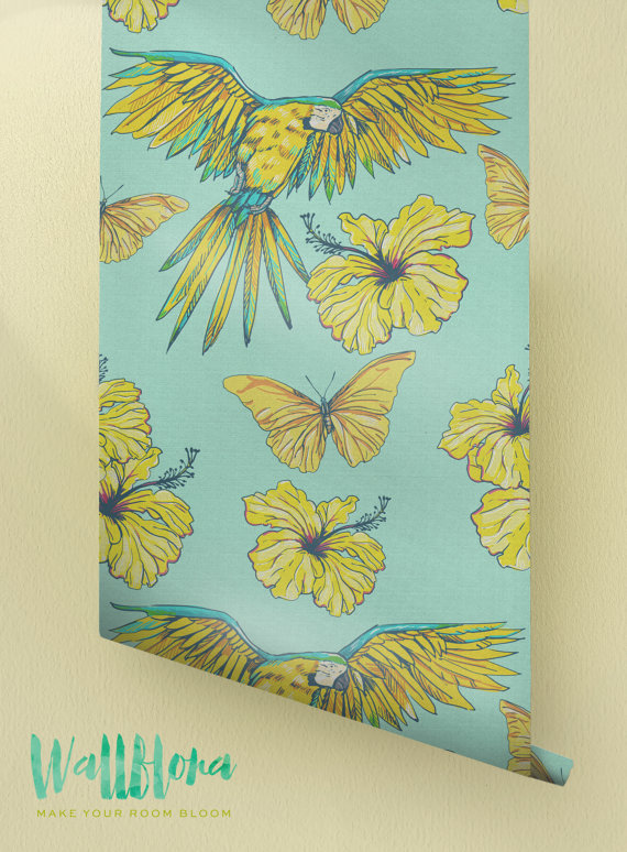 Hibiscus-and-Parrot-Pattern-Removable-Tropical-Wall-Sticker-Exo-wallpaper-wp426121-1