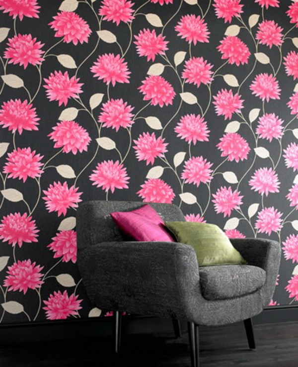 Home-Interior-Design-with-Black-and-Pink-Floral-wallpaper-wp5405772