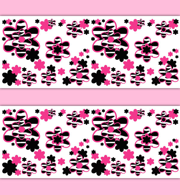 Hot-Pink-Zebra-Animal-Print-Floral-Border-Wall-Art-Decals-Teen-Girl-decampstudios-wallpaper-wp3006709