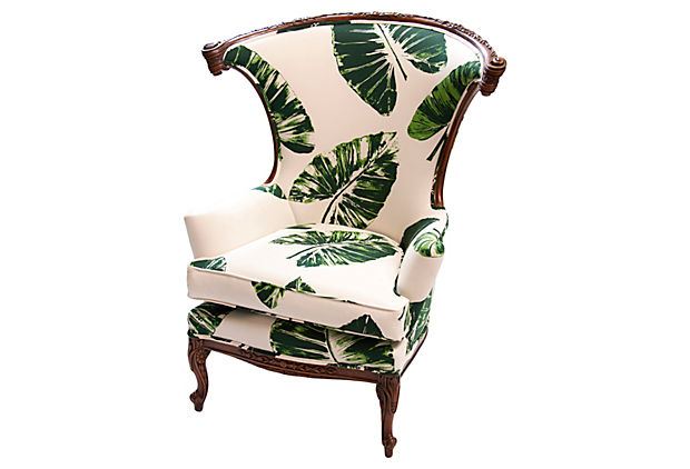 LOVE-LOVE-LOVE-Banana-Leaf-Parlor-Chair-Vintage-chair-updated-with-upholstery-in-Rose-Cummings-wallpaper-wp4607906