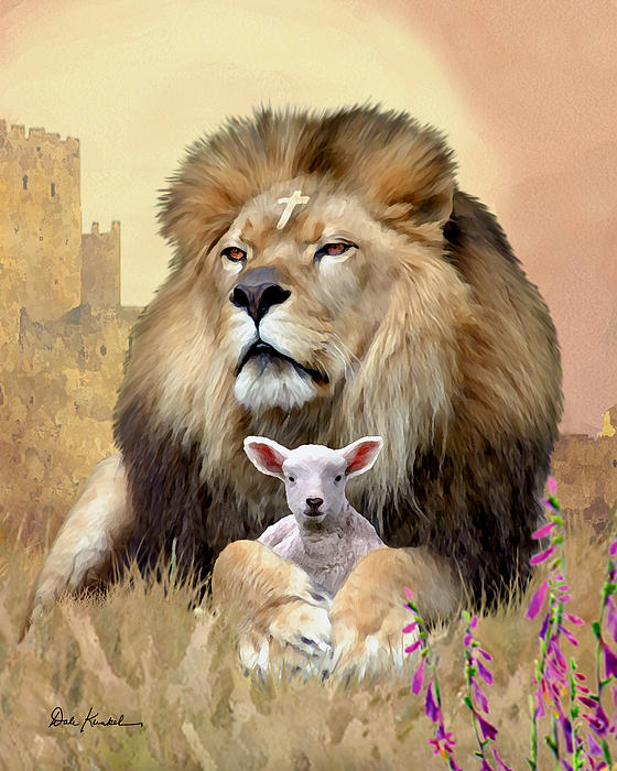 Lion-and-Lamb-by-Dale-Kunkel-wallpaper-wp5203156