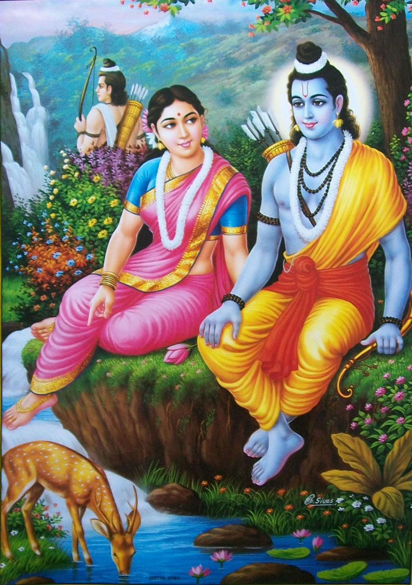 Lord-Ram-Rama-Sita-Laxman-as-Vanvasi-in-Jungle-wallpaper-wp5606477