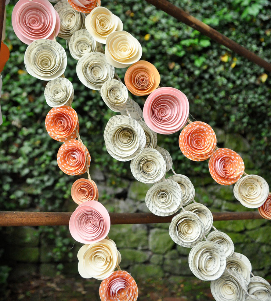 Orange-Pink-Recycled-Book-Page-Paper-Flower-Garlands-wallpaper-wp428152