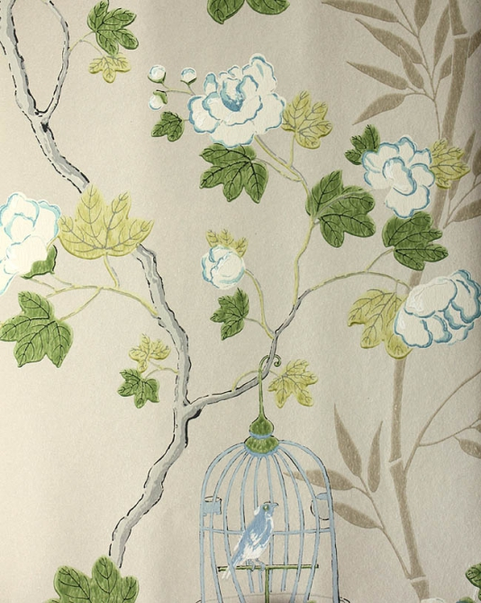 Songbird-Climbing-roses-design-with-little-birds-in-cages-hanging-from-branches-in-aqua-a-wallpaper-wp429262-1