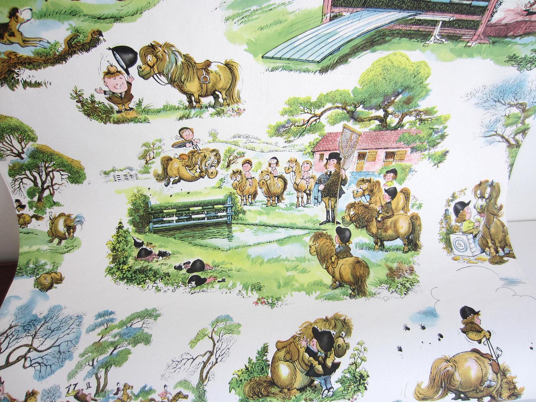 Vintage-English-Equestrian-Theme-Nursery-Horses-Fox-Hunt-Juvenile-Baby-Kids-Room-wallpaper-wp58010495-1