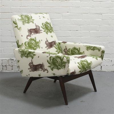 Vintage-Parker-Knoll-Chair-Re-upholstered-in-Thornback-Peel-s-Rabbit-Cabbage-Price-wallpaper-wp4210384