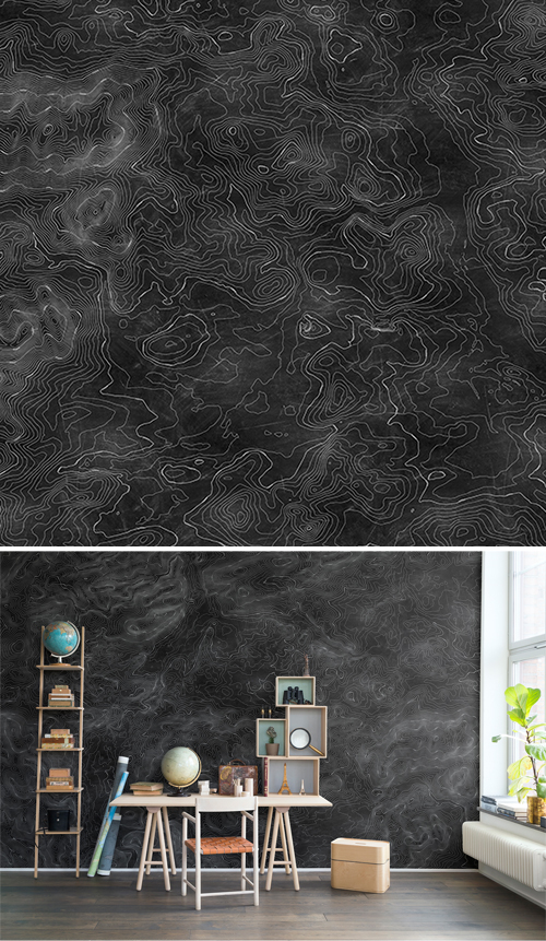 WALL-MURAL-BLACK-LINES-WHITE-ELEVATION-GRAPHICALLY-MAP-BLACKBOAR-wallpaper-wp44012602