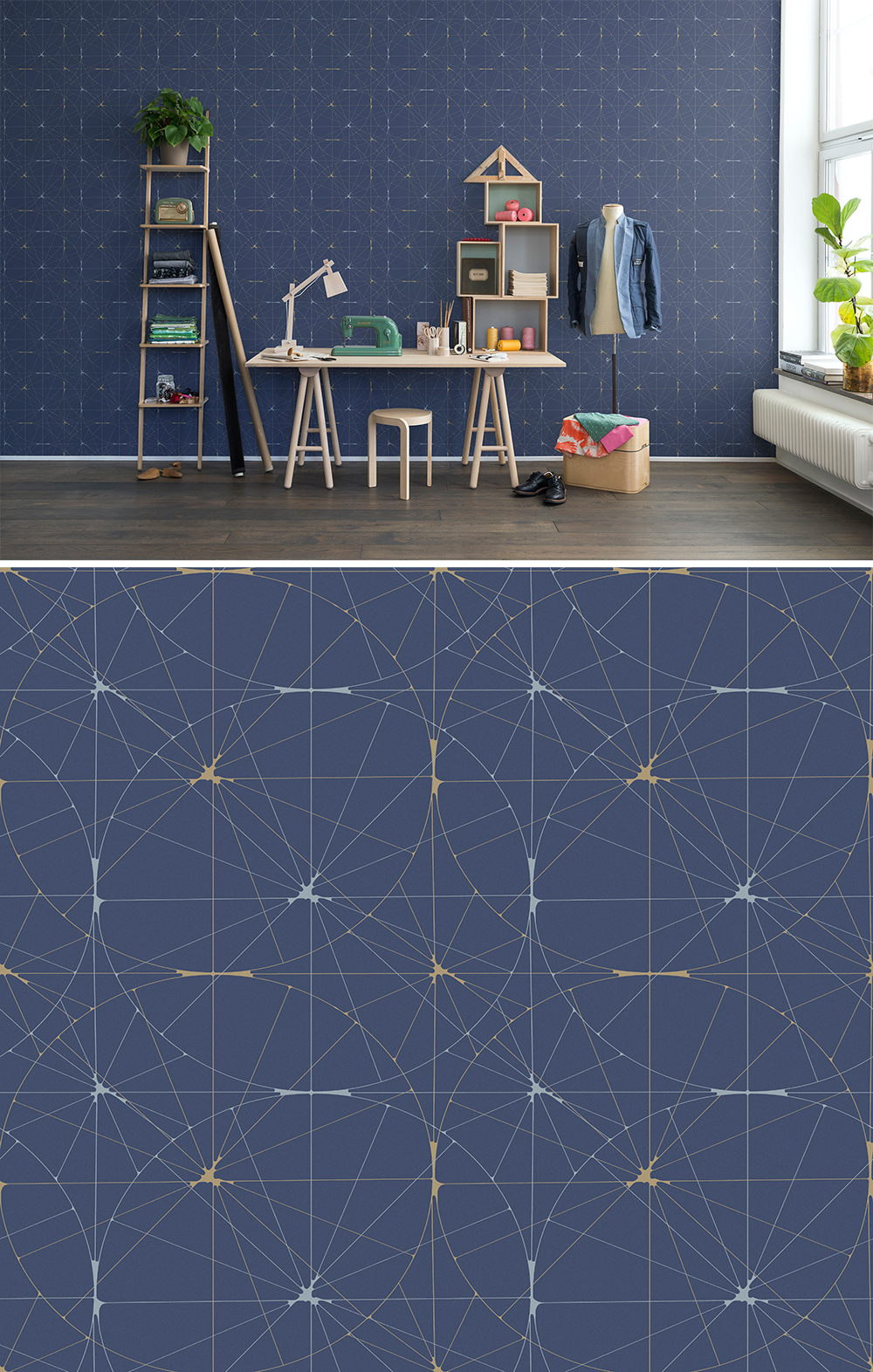 WALL-MURAL-BLUE-GOLD-CIRCLES-TIMELESS-RETRO-FIFTIES-PATTERN-GE-wallpaper-wp44012605