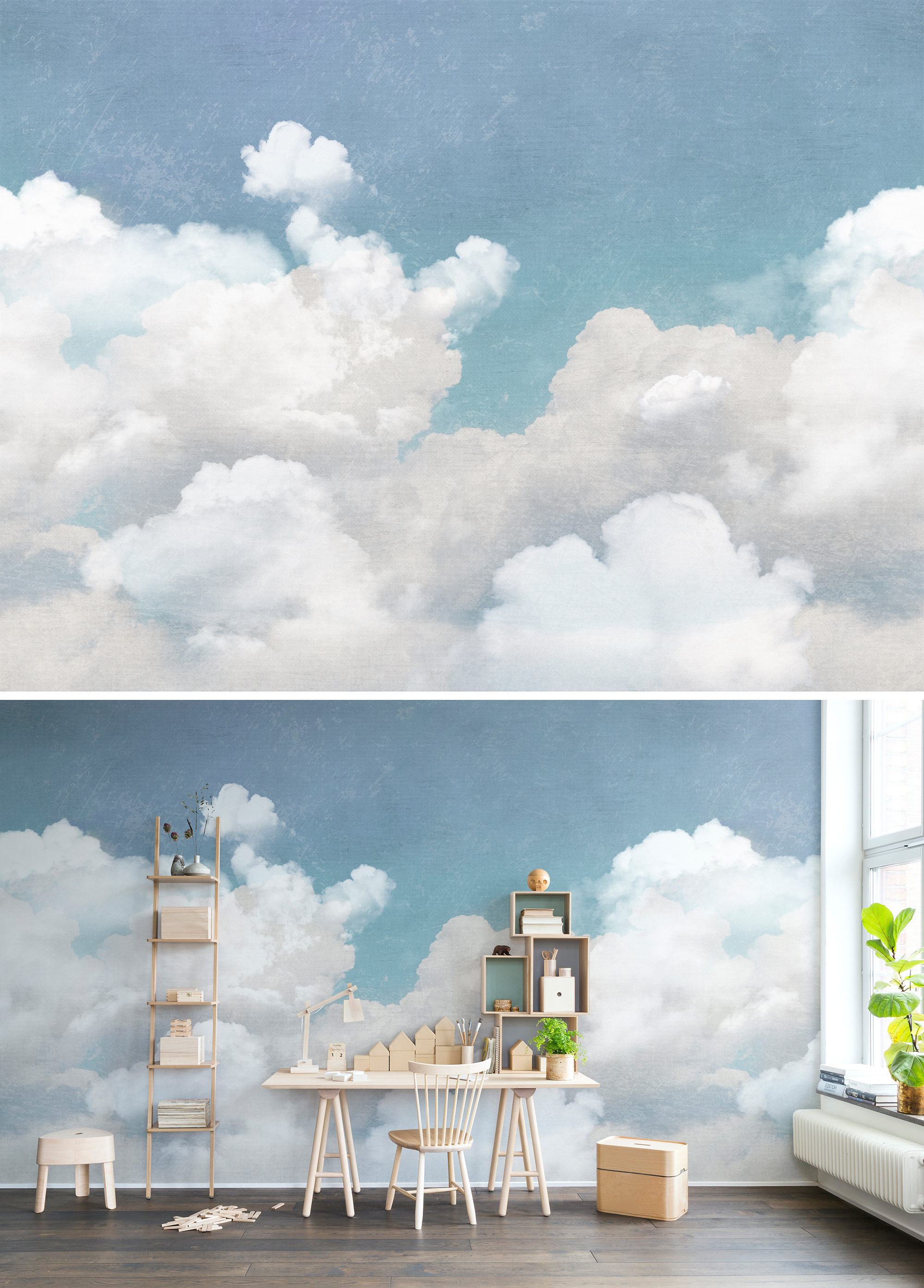 WALL-MURAL-BLUE-TURQUOISE-DREAM-SKY-CLOUDS-FLUFFY-ART-CHILDREN-wallpaper-wp44012607