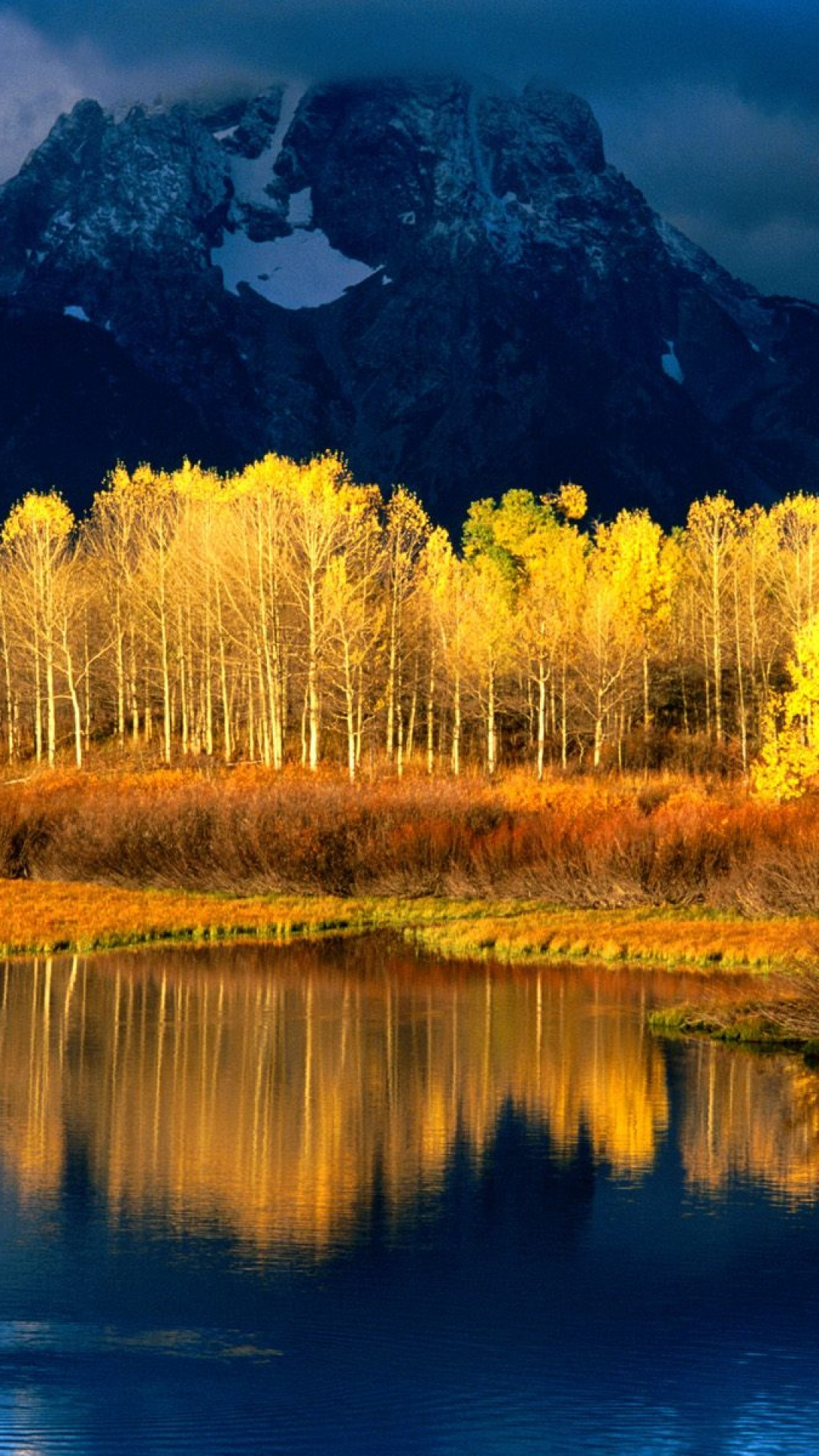 autumn-leaves-yellow-trees-reflection-peak-wallpaper-wp3602838