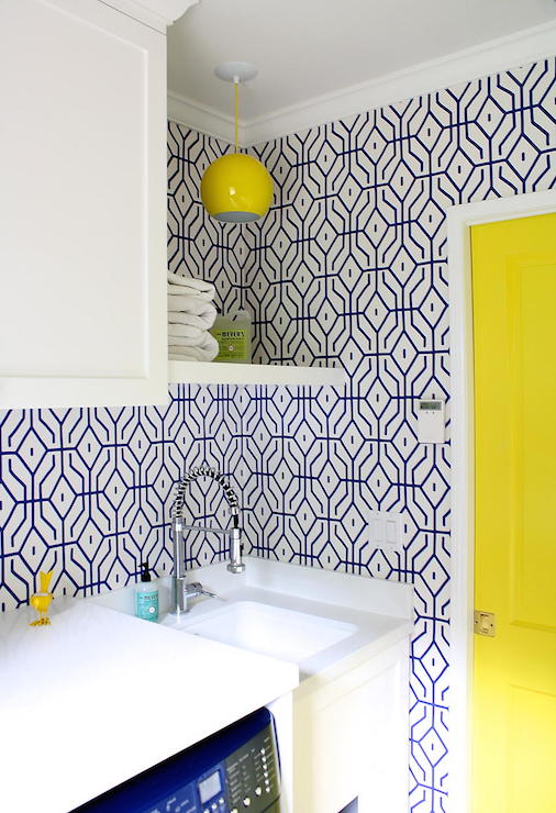 blue-trellis-pops-of-yellow-laundry-room-wallpaper-wp3003807