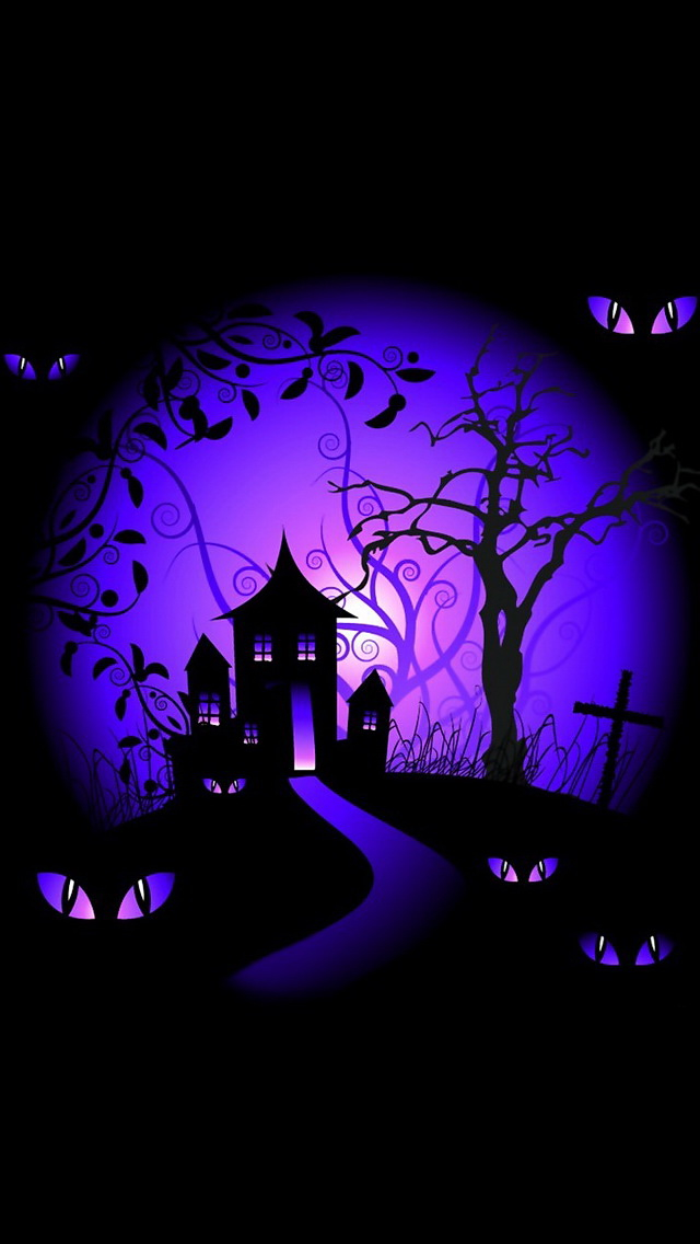 iphone-background-black-and-purple-halloween-haunted-house-wallpaper-wp426656-1