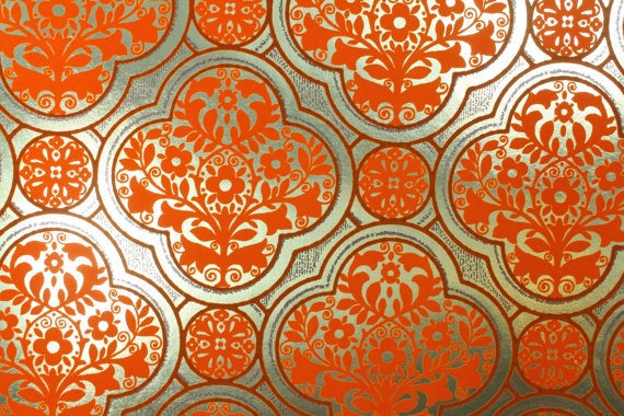 s-Vintage-Gold-Foil-background-with-orange-flocked-geometric-pattern-on-Etsy-wallpaper-wp4002318