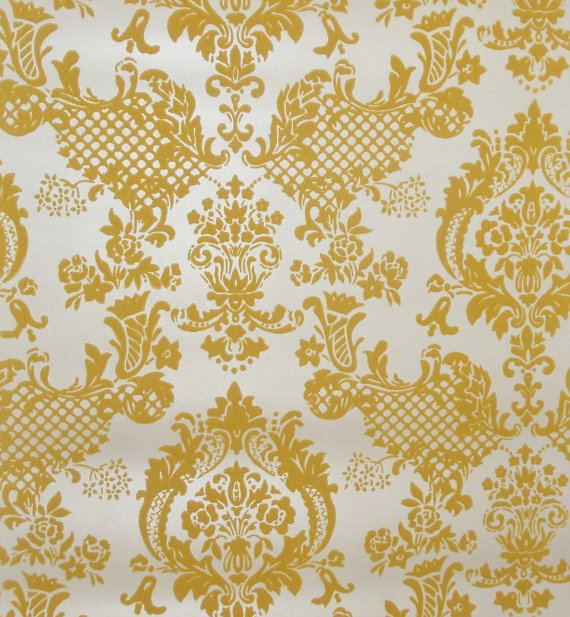 s-s-Vintage-Flocked-Gold-Yellow-Damask-By-the-Foot-Off-a-Roll-Cut-To-Length-wallpaper-wp4002308