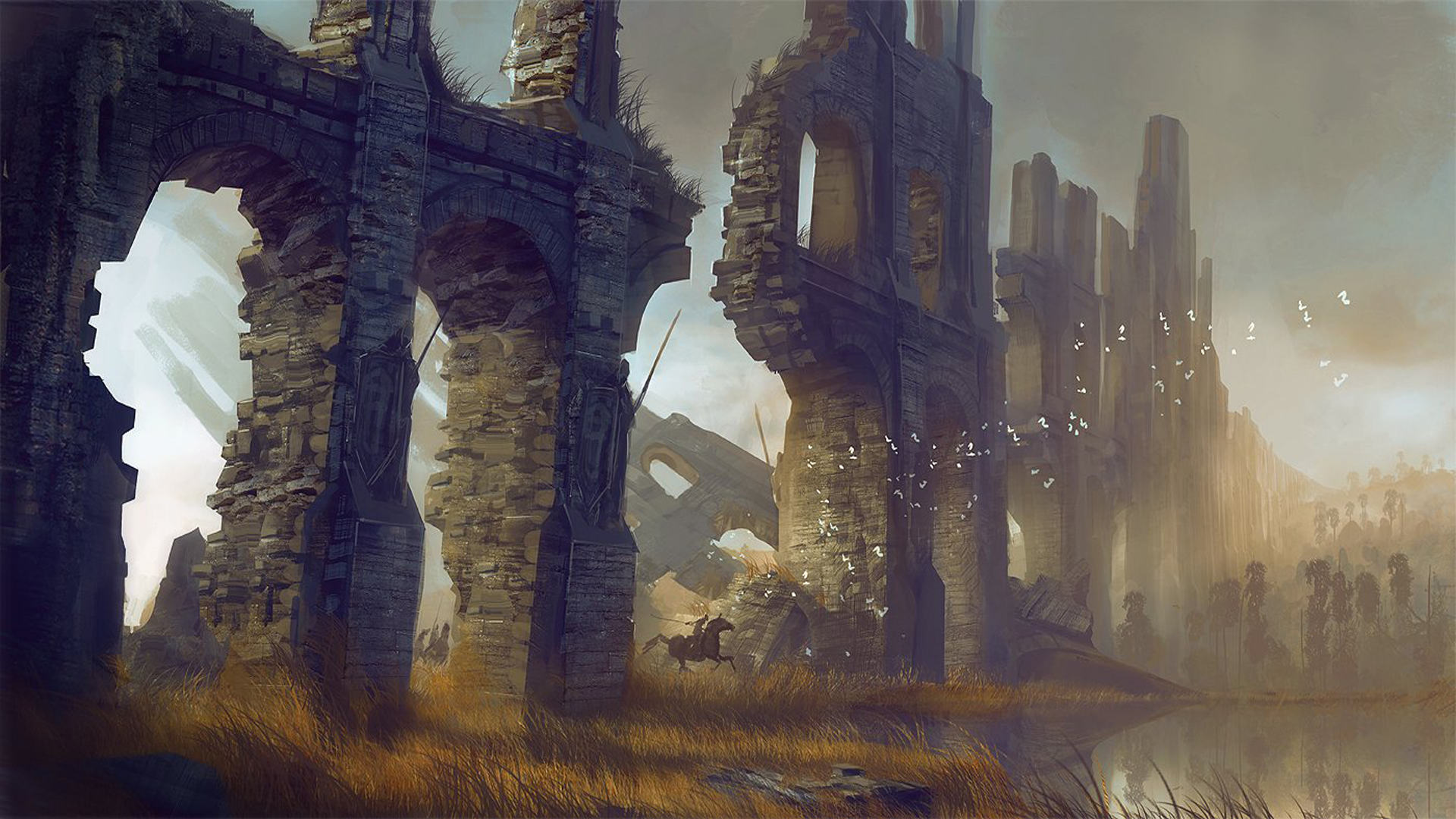 sunset-paintings-ruins-dawn-wall-concept-paint-Guild-Wars-fantasy-art-guild-concept-art-Guild-Wars-wallpaper-wp429456