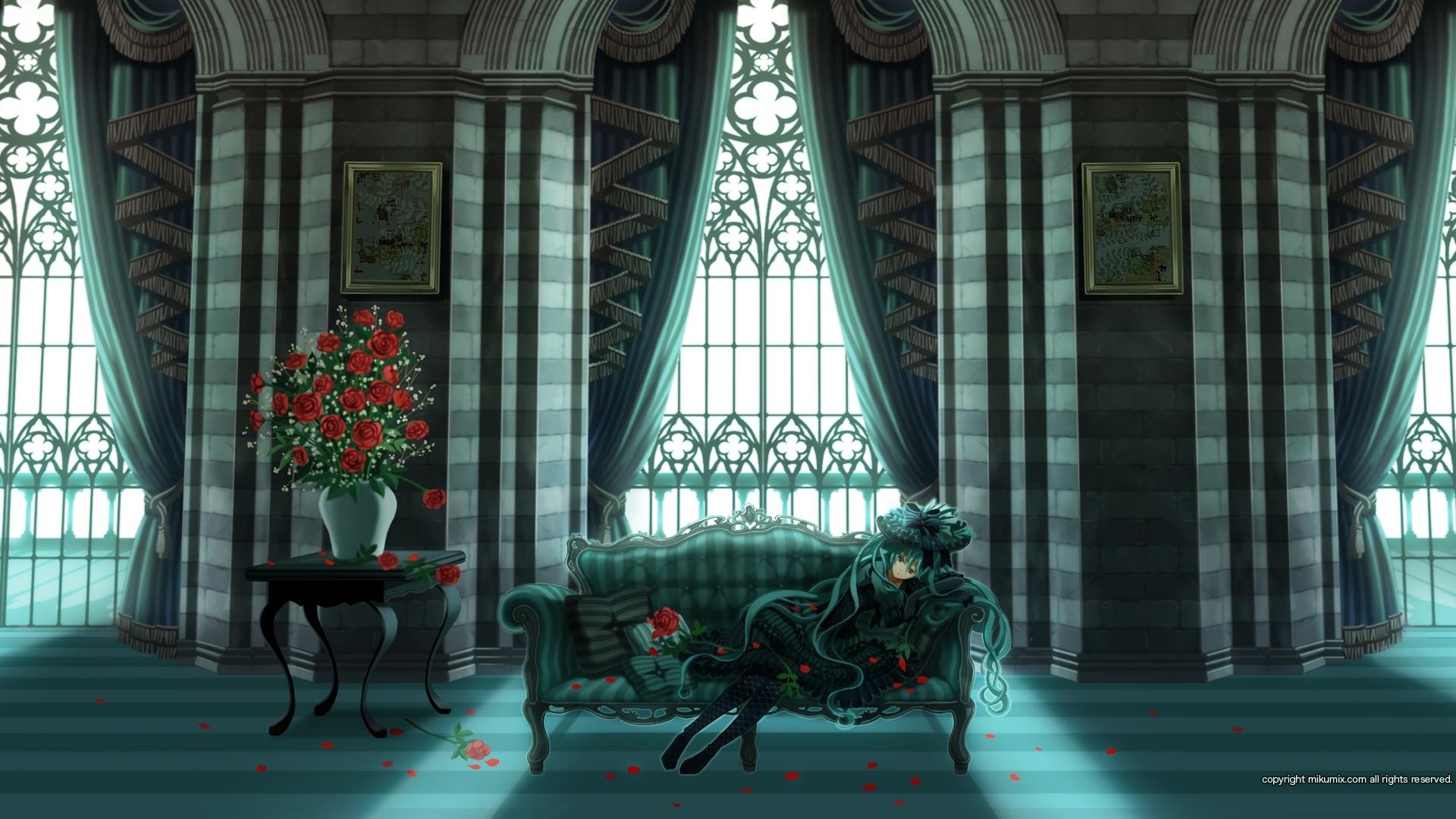 1920x1080-hatsune-miku-dress-flowers-vase-room-wallpaper-wpc9001011