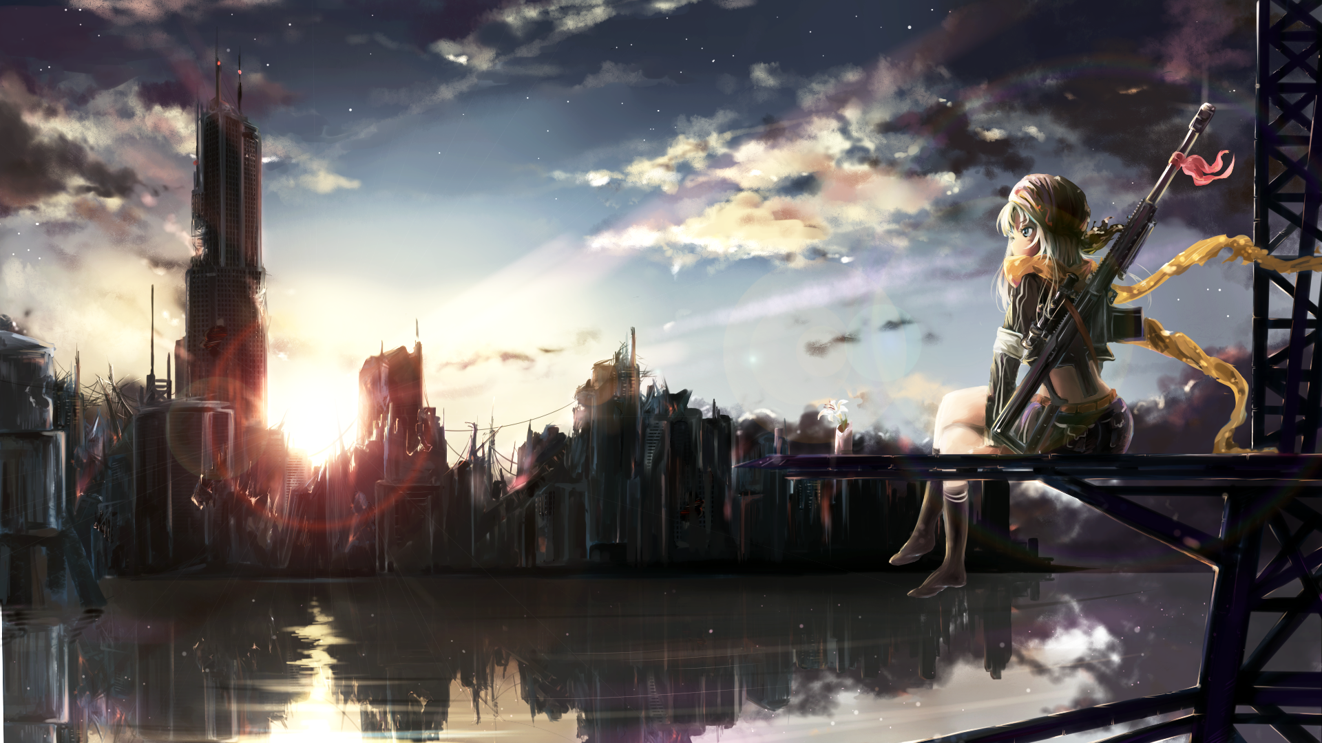 Anime-Original-Girl-City-Ruin-Post-Apocalyptic-Rifle-Weapon-Reflection-wallpaper-wpc9202442