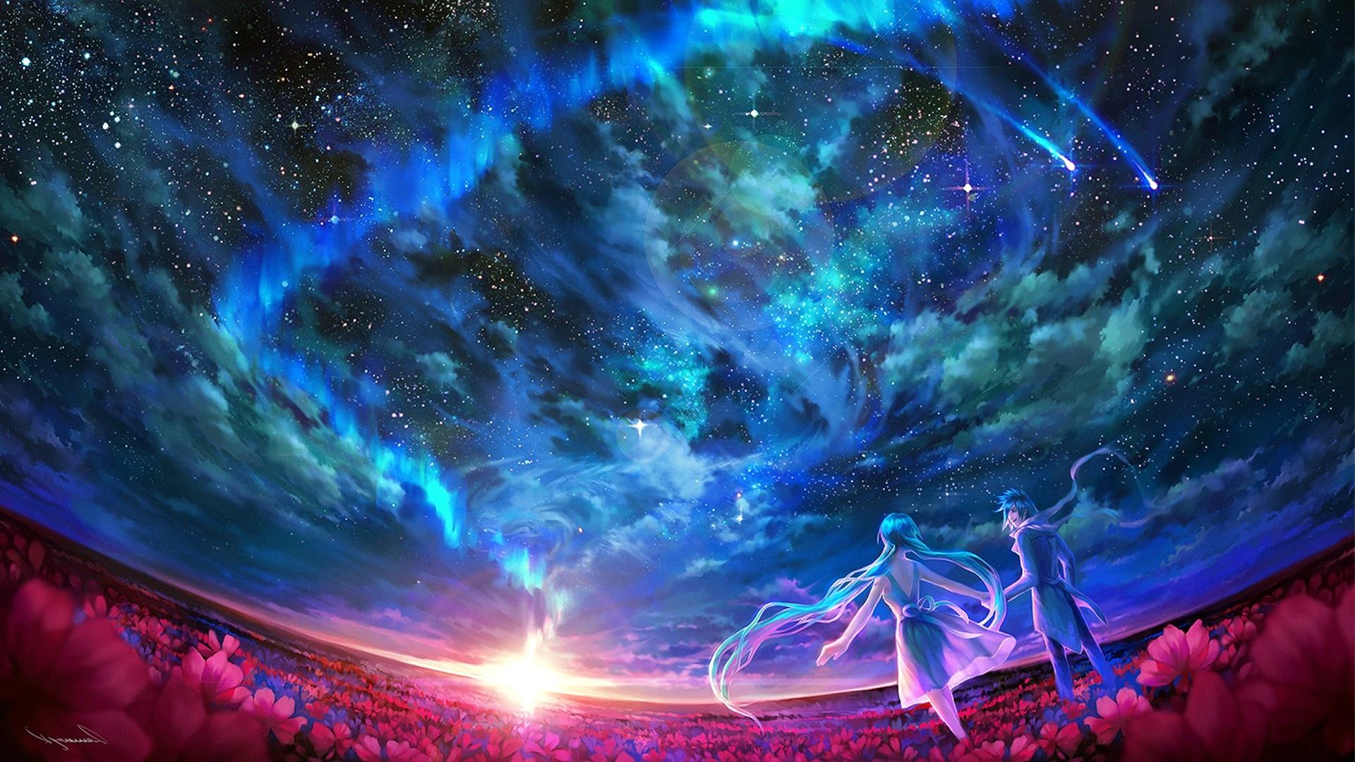 Anime-Vocaloid-Flower-Cloud-Sky-Landscape-Blue-Hair-Long-Hair-Sun-Star-Hatsune-Miku-Kaito-Vocaloid-wallpaper-wp3602567
