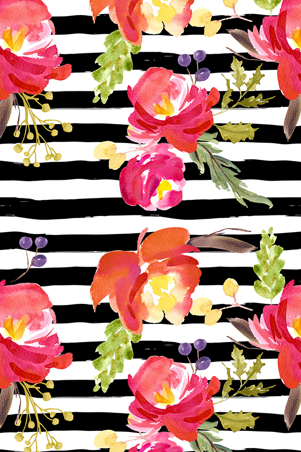 Barcelona-Nights-Stripes-by-shopcabin-Bold-bright-flowers-on-a-black-and-white-background-availabl-wallpaper-wpc5802508