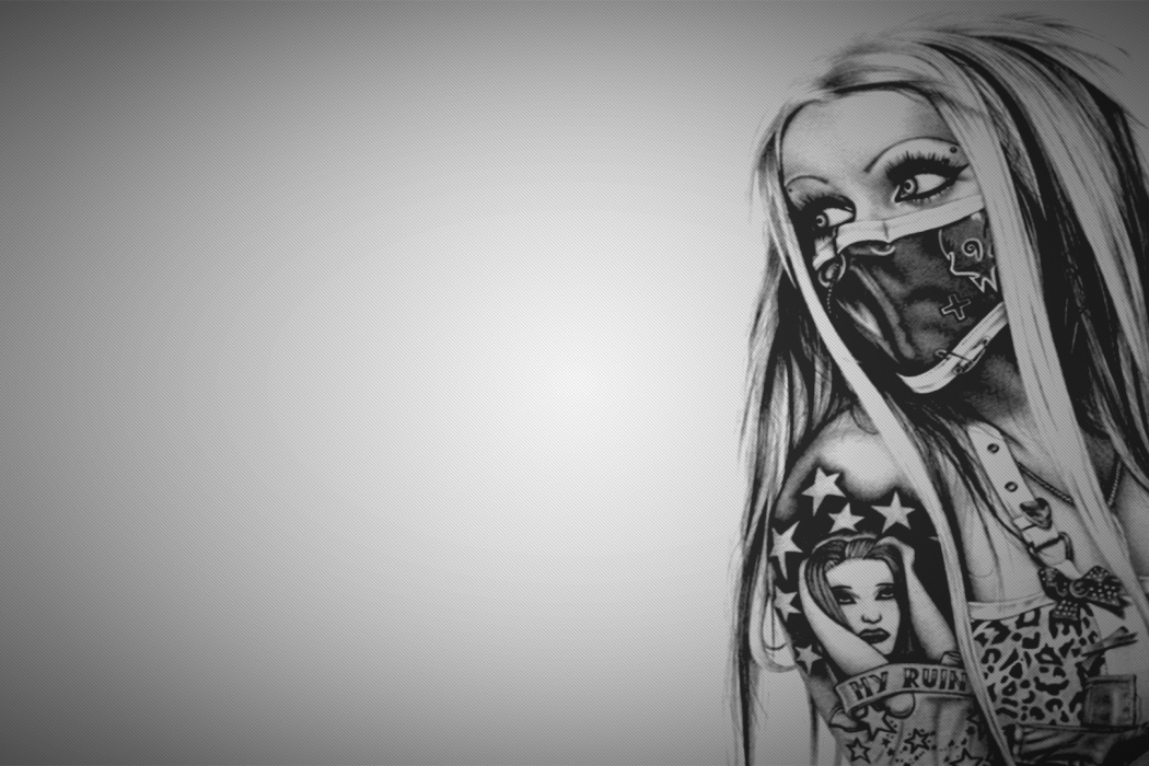 Beautiful-Girl-Tattoo-Arm-Black-and-White-Painting-wallpaper-wpc9002700