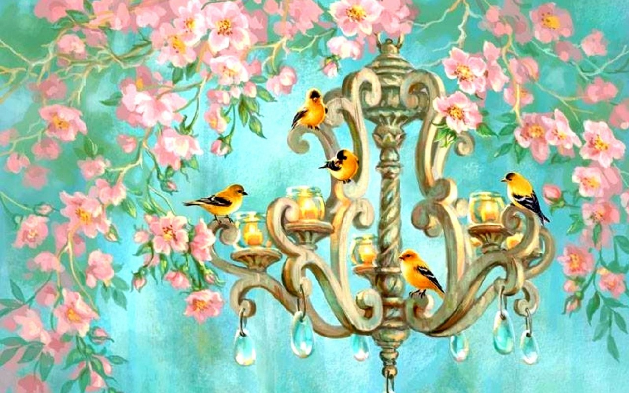 Birds-Chandelier-Pink-Flowers-wallpaper-wpc9002906