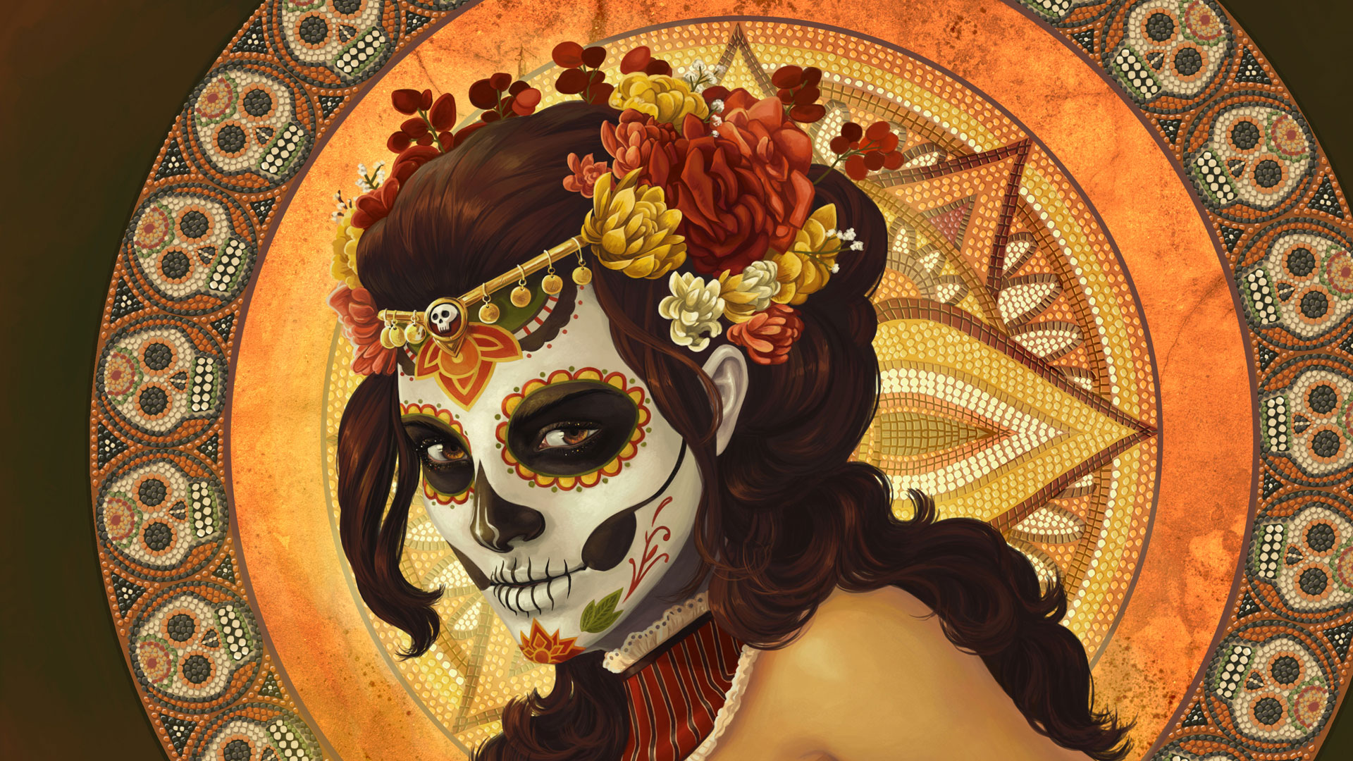 Day-of-the-Dead-Dia-de-los-muertos-Rockabilly-Pin-Up-girl-pink-hair-Lowbrow-Tattoo-art-PRINT-pink-su-wallpaper-wpc9004055
