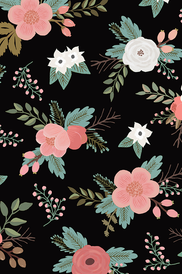 Floral-Bouquets-in-Black-by-willowlanetextiles-Pink-rose-and-white-flower-illustration-on-a-blac-wallpaper-wpc5804849