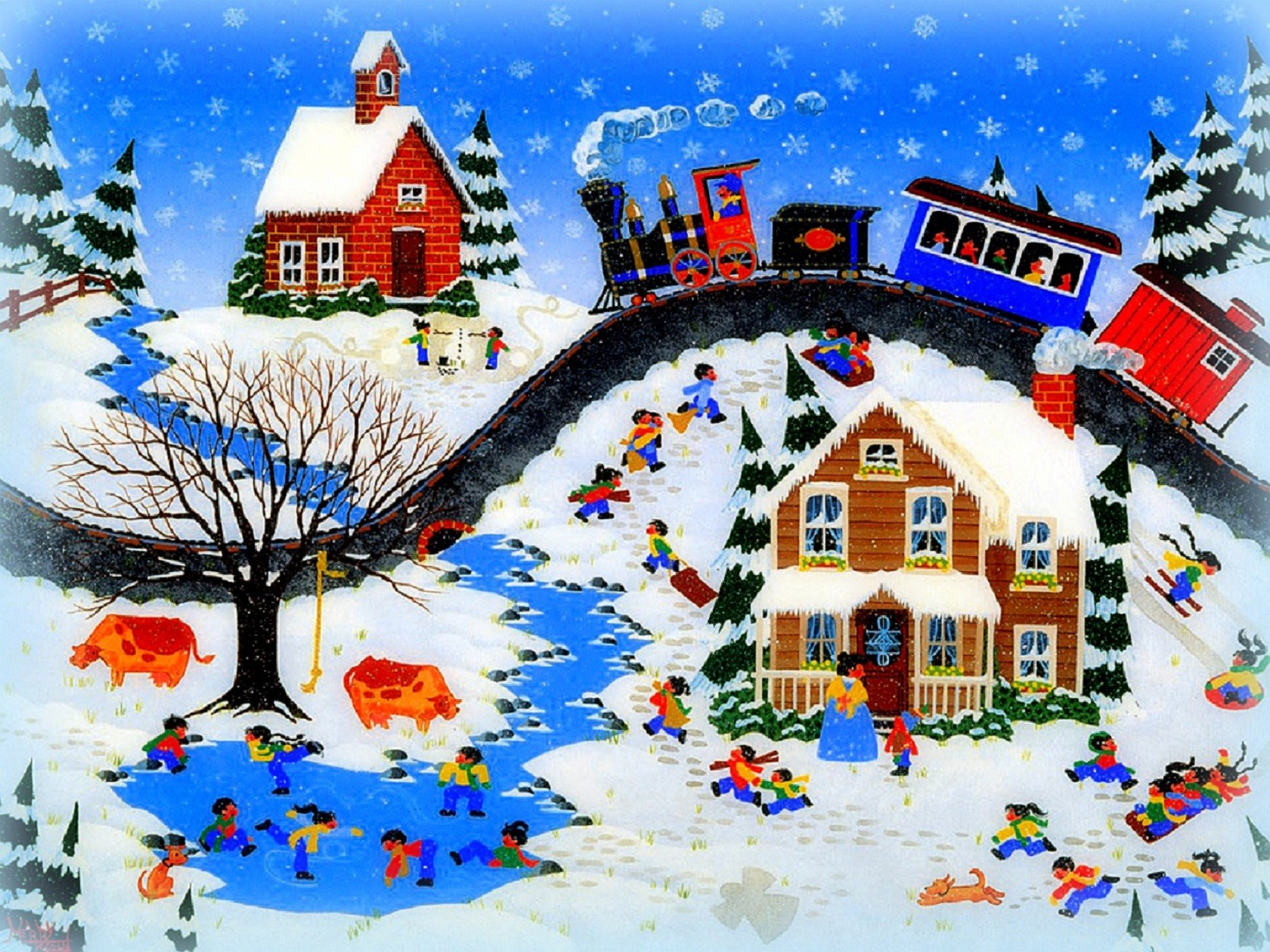 Merry-Christmas-Kohn-Buvia-Xmas-New-Year-Paintings-Villages-Trees-Winter-Love-Seasons-Traditional-Ar-wallpaper-wpc9007532