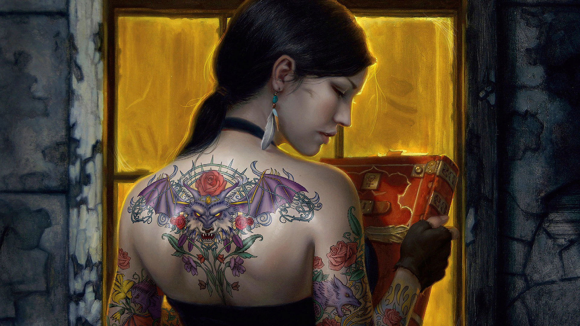 The-girl-with-the-dragon-tattoo-on-the-back-wallpaper-wpc9009800
