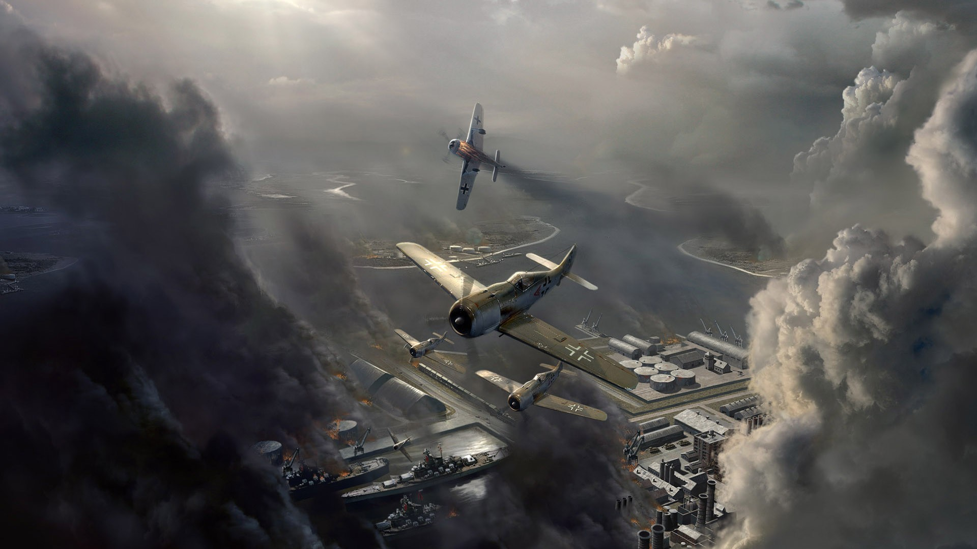 aircraft-planes-hd-fictional-focke-wulf-fw-attack-on-a-harbor-1920×1080-wallpaper-wp3602305