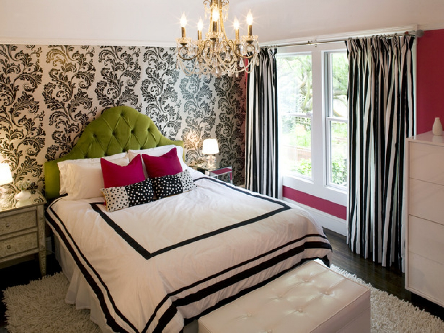 beautiful-contemporary-bedroom-with-small-chandelier-wallpaper-wpc9002690