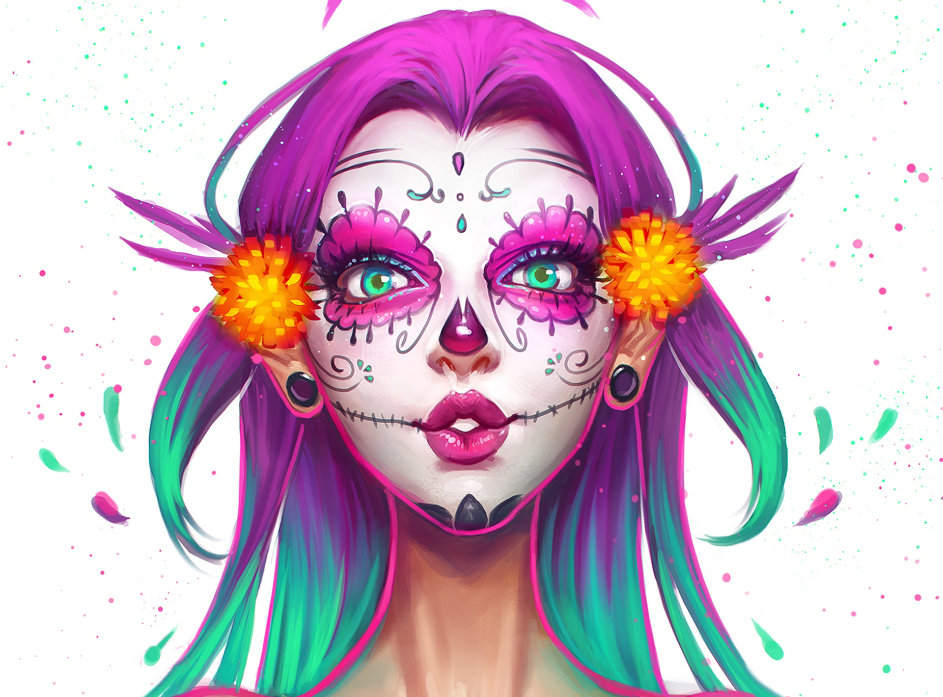 beauty-girl-face-make-up-skull-painting-desktop-background-hd-1920x1080-style-blue-and-p-wallpaper-wpc9002737