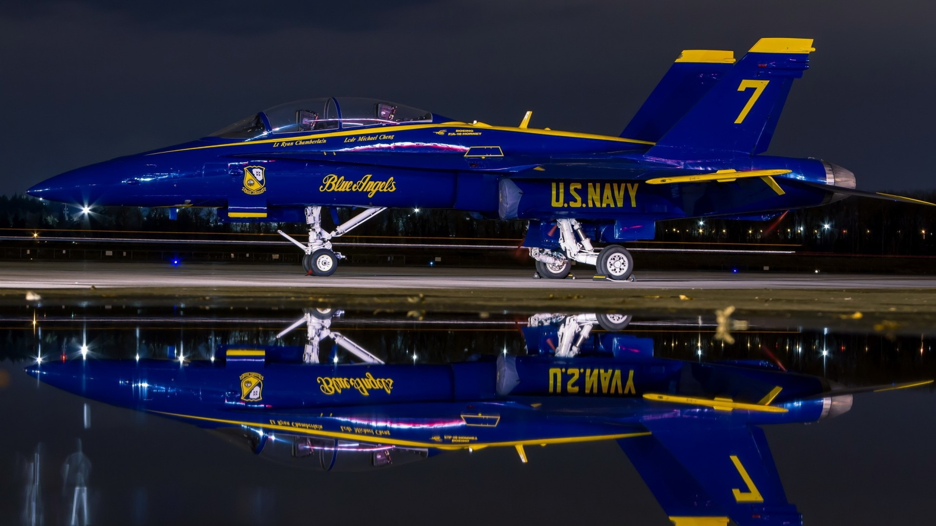 blue-angel-f-hornet-reflected-at-night-hd-1920×1080-wallpaper-wpc9003066