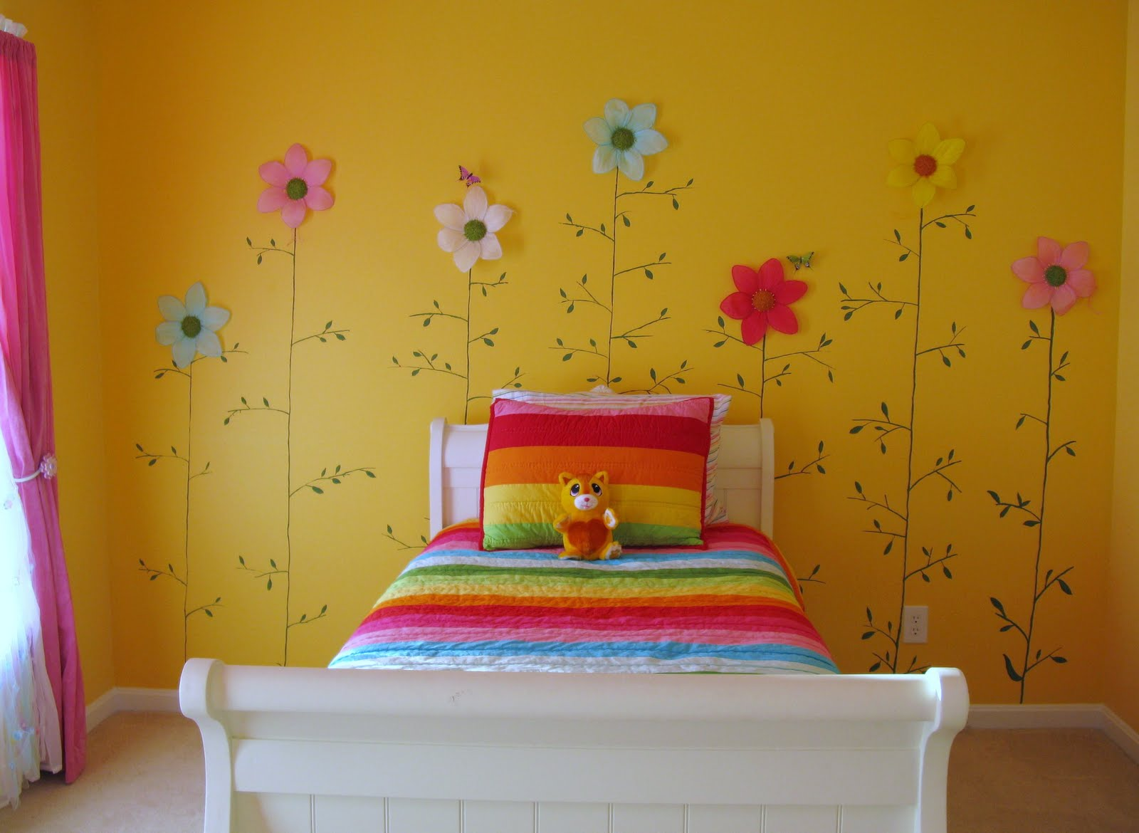 cute-decorating-ideas-for-little-girls-door-Little-Girls-Yellow-Flower-Bedroom-wallpaper-wpc5803827